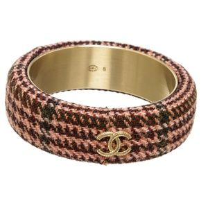 Chanel Multicolor Pink CC Tweed Bangle Bracelet